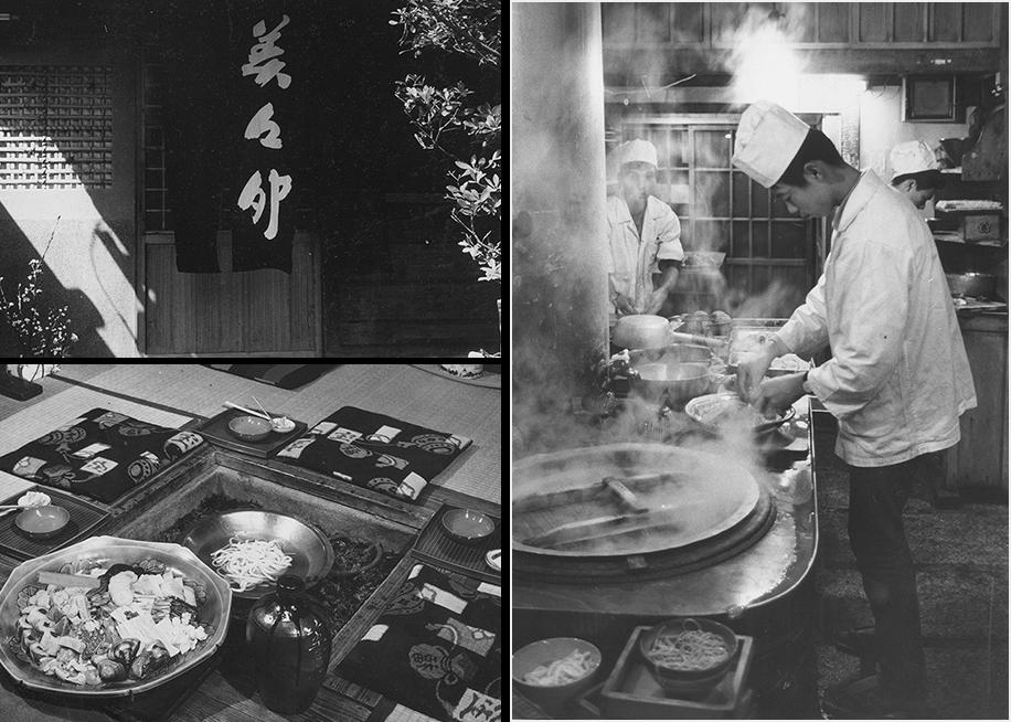 左上:本店うずらそば看板 / 左下:うどんすきと囲炉裏 / 右:板場の写真
